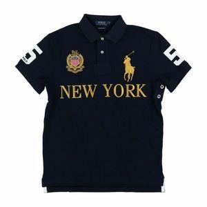 POLO RALPH LAUREN CREST NEW YORK SHIRT L NAVY GOLD